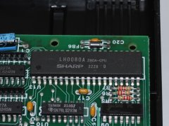 Detail photo of the Z80 processor in the Commodore CP/M cartridge.