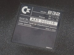 The serial number of the Commodore 232.