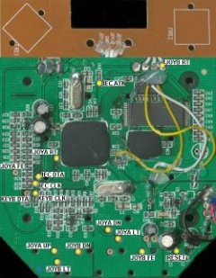 Top view of the PCB of the C64 DTV-1 (NTSC).