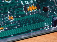 Detail of the motherboard of the Commodore Educator 64. The motherboard is a revision A motherboard.