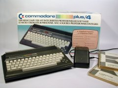 The Commodore Plus/4 with original packaging, manual and power supply.