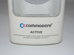 Close up of the Commodore active speaker system.