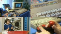 A Commodore C64g, C64 and a PET/CBM computer, a VIC-1541 disk drive, a 1084s monitor and a Competition Pro joystick in the TV program Nano.
