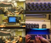 A Commodore C64 computer, C2N Datassette and a 1541 disk drive in the music video Computer Camp Love.