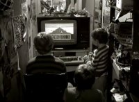 A Commodore C64 with the Epyx game Super Cycle in the movie Der Himmel über Berlin.