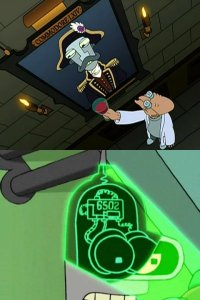 A picture of Commodore LXIV and of a 6502 microchip in the TV-series Futurama.