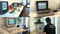 A Commodore VIC-20, C64 and a Amiga 500 computer with 1701 and 1084 monitors in the Oldenburger Computermuseum - NWZ TV.