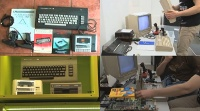 A Commodore C16, C64 en C64g computer, 1541 and 1541c disk drive, 1802 monitor, a Datassette and a  MPS 802 printer in the TV program Straightforward.