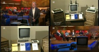 A Commodore CBM 3032 and C64 computer, 1541 and 8050 diskdrive, MPS801 printer and a 1702 monitor in the TV show Sonntag Abend.