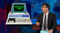 A Commodore PET 2001 (Blue edition) computer in the TV show The Daily Show.