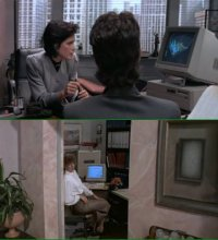 A Commodore Amiga 2000 and Amiga 500 in the movie The Gods Must Be Crazy 2.