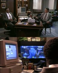 A Commodore Amiga 2000 computer and a 1084s monitor in the movie The Substitute.