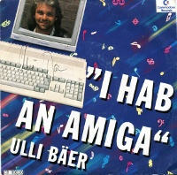 A Commodore Amiga 500 computer and a 1084 monitor on the cover of Ulli Bäer ‎– I Hab An Amiga.